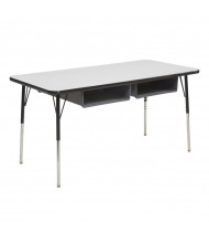 "ECR4Kids 60"" W x 24"" D Two Book Box Adjustable Activity Table (Shown in Grey)"