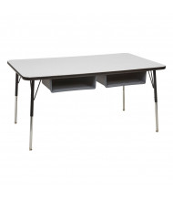 "ECR4Kids 60"" W x 36"" D Four Book Box Adjustable Activity Table (Shown in Grey)"