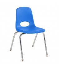 """ECR4Kids 18"""" H Plastic Classroom Stacking Chair with Chrome Legs, 5-Pack (Shown in Blue)"""