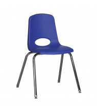 "ECR4Kids 18"" H Classroom Stacking Chair, Chrome Legs, 5-Pack (Shown in Blue)"