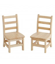 "ECR4Kids 12"" H Hardwood Ladderback Classroom Chair, 2-Pack"