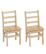 "ECR4Kids 14"" H Hardwood Ladderback Classroom Chair, 2-Pack"