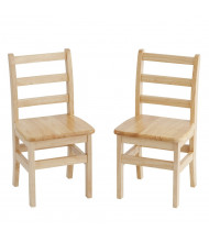 "ECR4Kids 16"" H Hardwood Ladderback Classroom Chair, 2-Pack"