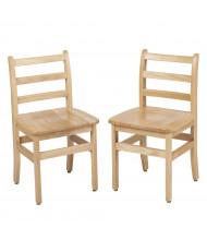 "ECR4Kids 16"" H Hardwood Ladderback Classroom Chair, Oak, 2-Pack"