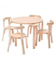 "ECR4Kids 28"" Round Bentwood Preschool Table and Chair Set, Natural"
