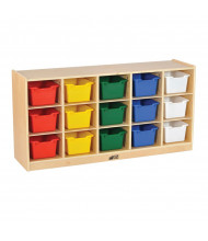 ECR4Kids Birch 15-Section Mobile Cubby Tray Cabinet (Shown with Assorted Bins)