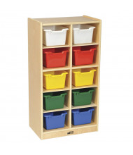 ECR4Kids Birch 10-Section Mobile Cubby Tray Cabinet (Shown with Assorted Bins)