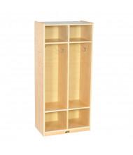 ECR4Kids Birch 2-Section Cubby Coat Locker