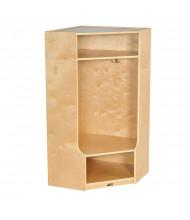 ECR4Kids Birch Corner Single Section Coat Locker with Step