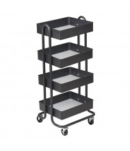 "ECR4Kids 37"" H 4-Tier Metal Utility Classroom Cart (Shown in Black)"