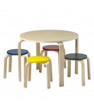 "ECR4Kids 28"" Round Bentwood Preschool Table and Stools Set, Assorted"