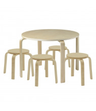 "ECR4Kids 28"" Round Bentwood Preschool Table and Stools Set, Natural"