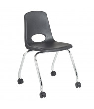 "ECR4Kids 18"" H Mobile Stacking Classroom Chair, 2-Pack (Shown in Black)"