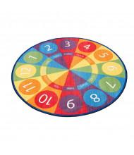 ECR4Kids Tick-Tock Clock Round Classroom Rug