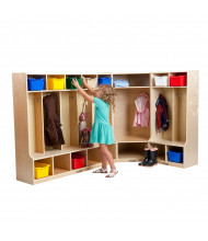 ECR4Kids Birch 9-Section L-Shaped Cubby Coat Lockers with Step