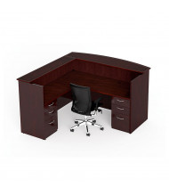 "Cherryman Emerald 72"" W Double Pedestal L-Shaped Reception Desk (Shown in Mahogany, Chair Not Included)"