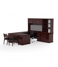 Cherryman Emerald EM-420N U-Shaped Office Desk Set (Shown in Mahogany, Chairs and Bulletin Board Not Included)