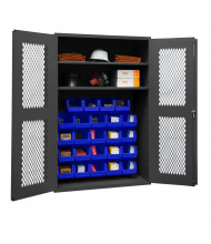 Durham Steel 2-Shelf Ventilated Bin Storage Cabinets, 24 Hook-On Bins