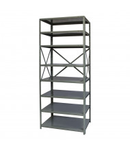 "Hallowell 8-Shelf 87"" H Hi-Tech Extra Heavy-Duty Open-Back Shelving Unit, Hallowell Grey"