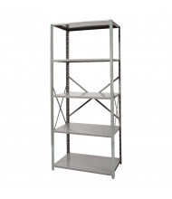 "Hallowell 5-Shelf 87"" H Hi-Tech Extra Heavy-Duty Open-Back Shelving Unit, Hallowell Grey"