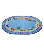ECR4Kids All Around Cars Alphabet Oval Classroom Rug