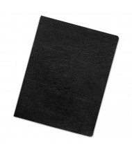 "Fellowes 7.5 Mil 8.75"" x 11.25"" Round Corner Leather-Like Texture Black Binding Cover, 200/Pack"