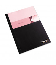 "Fellowes 5 Mil 8.5"" x 11"" Square Corner Clear/Black Thermal Binding Cover, 120 Sheet Capacity, 10/Pack"
