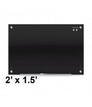 Quartet Infinity 2' x 1.5' Black Magnetic Glass Whiteboard