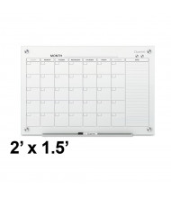Quartet Infinity 2' x 1.5' Monthly White Magnetic Glass Calendar Whiteboard