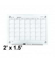 Quartet GC2418F Infinity 2 ft. x 1.5 ft. Monthly White Magnetic Glass Calendar Whiteboard