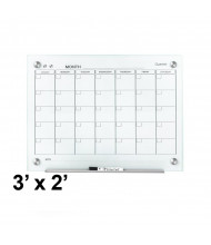 Quartet GC3624F Infinity 3 ft. x 2 ft. Monthly White Magnetic Glass Calendar Whiteboard