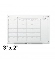 Quartet Infinity 3' x 2' Monthly White Magnetic Glass Calendar Whiteboard