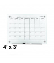 Quartet GC4836F Infinity 4 ft. x 3 ft. Monthly White Magnetic Glass Calendar Whiteboard