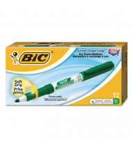 BIC Great Erase Grip Dry Erase Marker, Fine Point, Green, 12-Pack