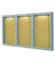 Ghent Indoor 6' x 3' Silver Frame Concealed Lighting Enclosed Cork Bulletin Board Cabinet