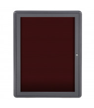 Ghent Ovation 2' x 3' Pin-On Enclosed Letter Board, Burgundy (Shown with Grey Frame)