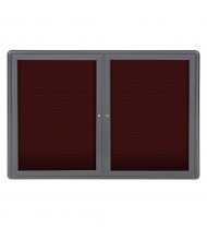 Ghent Ovation 4' x 3' Pin-On Enclosed Letter Board, Burgundy (Shown with Grey Frame)