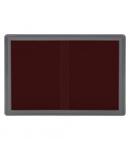 Ghent Ovation 4' x 3' Pin-On Sliding Door Enclosed Letter Board, Burgundy (Shown with Grey Frame)