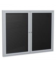 Ghent Outdoor 4' x 3' Pin-On Enclosed Vinyl Letter Board, Black/Silver