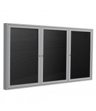 Ghent Outdoor 6' x 4' Pin-On Enclosed Vinyl Letter Board, Black/Silver