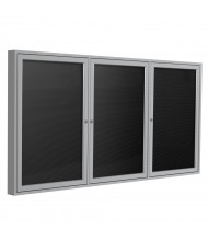 Ghent Outdoor 8' x 4' Pin-On Enclosed Vinyl Letter Board, Black/Silver