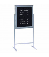 Ghent Sentry 2.5' x 3' Freestanding Pin-On Enclosed Letter Board, Black/Silver