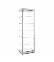 "Tecno GL10 Rectangular Tower Display Case 24"" W x 18.5"" D x 77"" H (white/silver frame, side spotlights sold separately)"