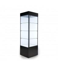 "Tecno GL100-2 Square Tower Display Case 23"" W x 23"" D x 75"" H (in black)"