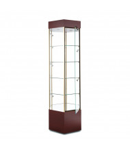 "Tecno GL103 Hexagonal Tower Display Case 25"" W x 21.75"" D x 73"" H (rosewood/gold frame, micro spotlights sold separately)"