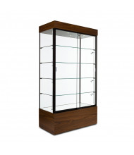 "Tecno GL105 Rectangular Display Case 19.75"" D x 73"" H (walnut/black frame, side spotlights optional)"