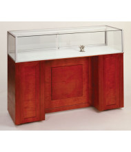 Tecno GL106/2 Quarter-Vision Jewelry Retail Display Case - Shown in cherry veneer with red cherry stain
