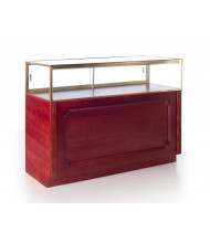 Tecno GL108 Quarter-Vision Jewelry Retail Display Case - Shown in Cherry Veneer with Red Cherry Stain