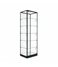 "Tecno GL10TG Rectangular Glass Top Tower Display Case 24"" W x 18.5"" D x 75"" H (black/black frame, micro spotlights sold separately)"