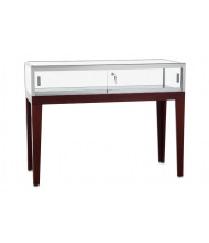 Tecno GL116 Sitdown Quarter-Vision Case - Cherry Veneer with Red Cherry Stain with silver frame and tapered legs